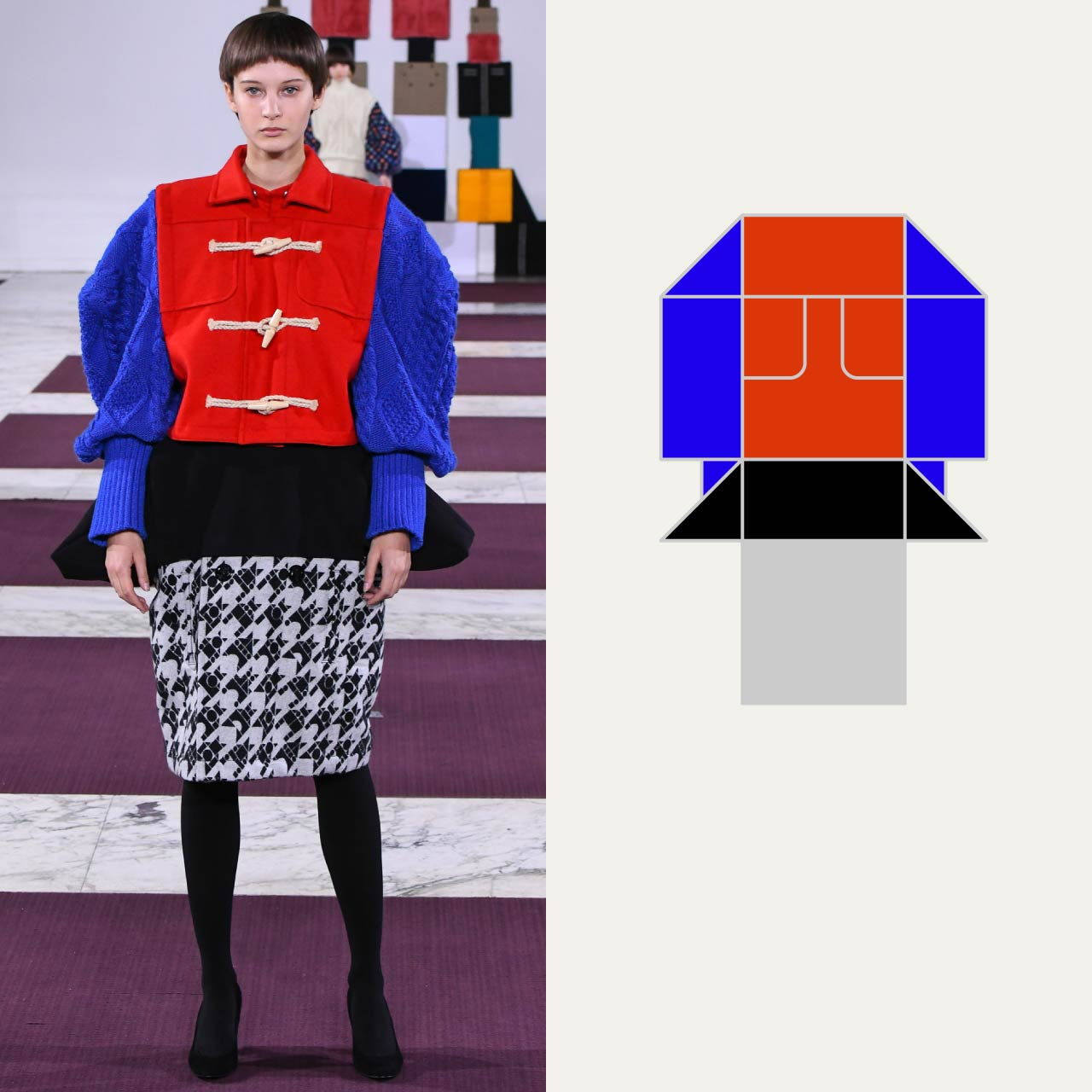 A Modular Anrealage Silhouette Through Blocks | The Cutting Class. Red jacket with blue knitwear sleeves, AW20.
