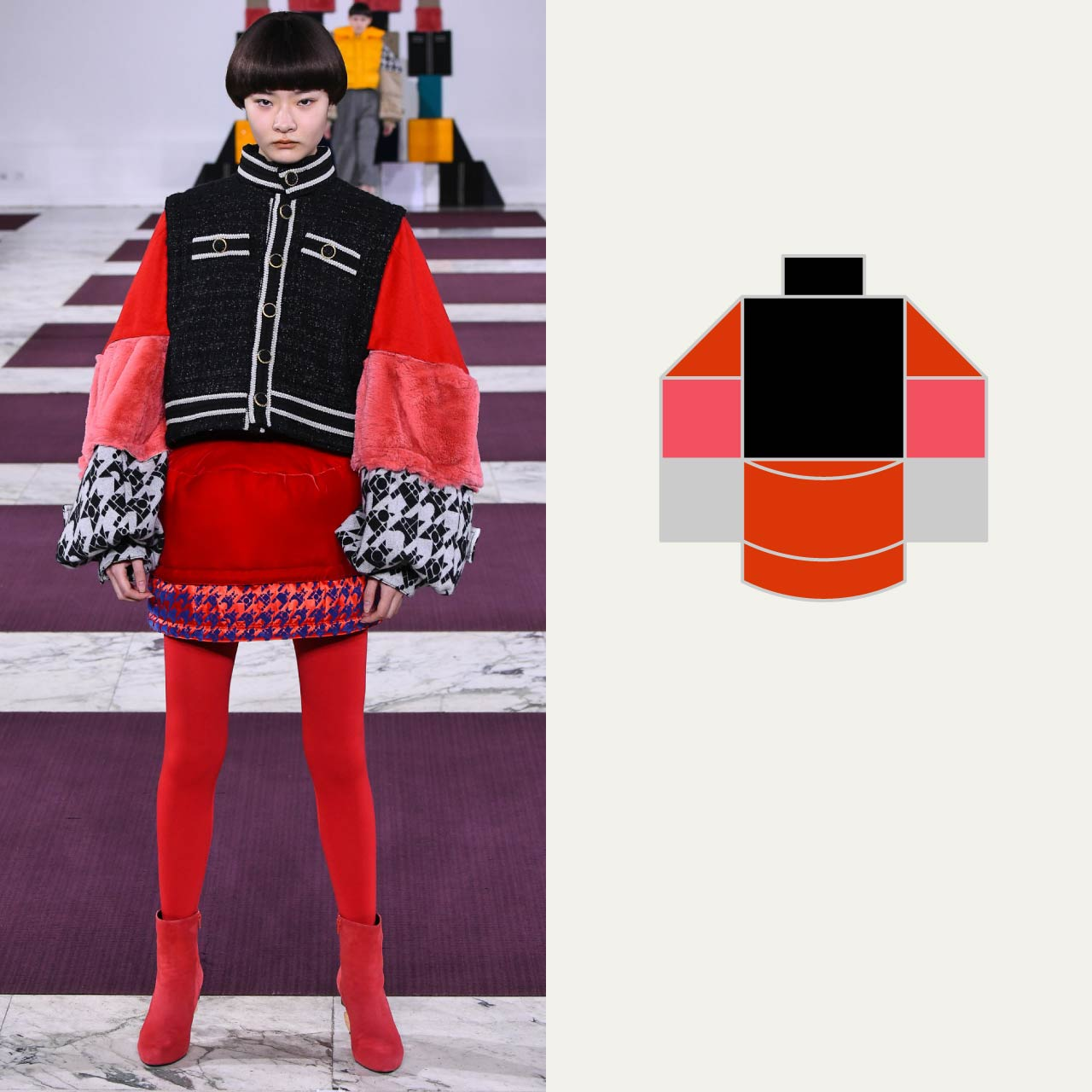 A Modular Anrealage Silhouette Through Blocks | The Cutting Class. Black Chanel-style jacket with red skirt, AW20.