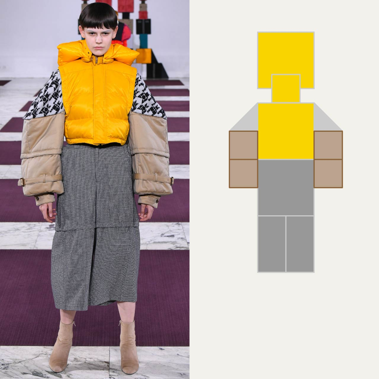 A Modular Anrealage Silhouette Through Blocks | The Cutting Class. Blocky hooded garment and trousers, AW20.