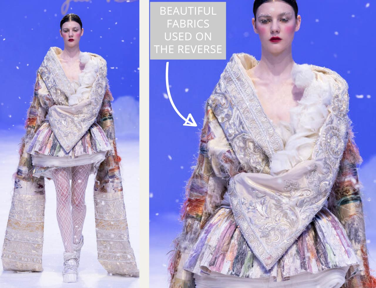 Reverse Textiles at Guo Pei Haute Couture | The Cutting Class. Beautiful antique fabrics used on the reverse to reveal brocade 'floats'.
