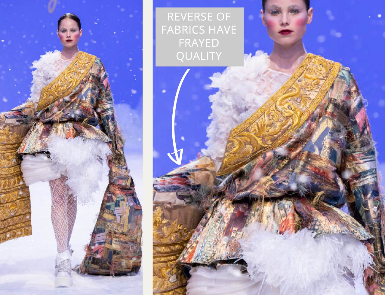 Reverse Textiles at Guo Pei Haute Couture | The Cutting Class. By using the reverse of the brocade fabric with the visible weft yarn 'floats' the fabrics appear softly frayed.