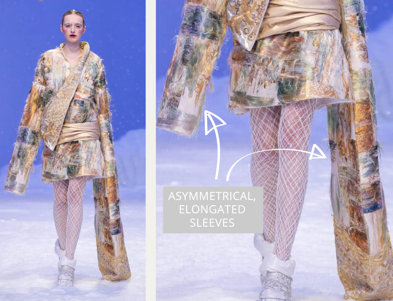 Reverse Textiles at Guo Pei Haute Couture | The Cutting Class. Asymmetrical, elongated sleeves. SS20 Haute Couture.