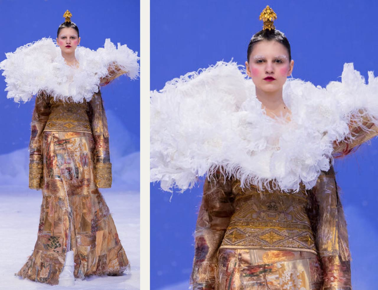 Reverse Textiles at Guo Pei Haute Couture | The Cutting Class. Cloud-like collar with feathers. SS20 Haute Couture.