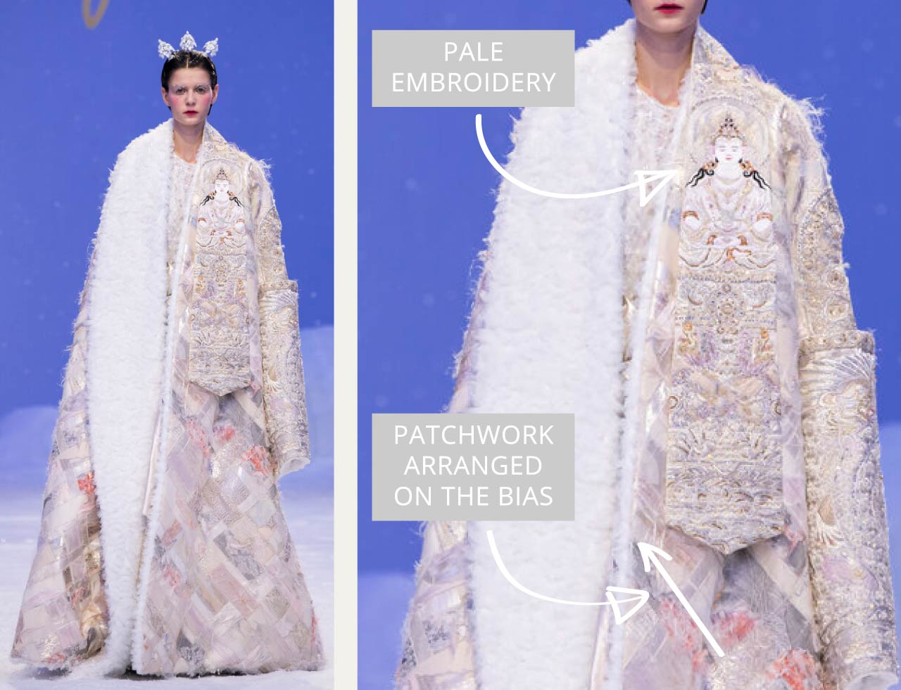Reverse Textiles at Guo Pei Haute Couture | The Cutting Class. Pale Buddhist embroidery and patchwork arranged on the bias. SS20 Haute Couture.