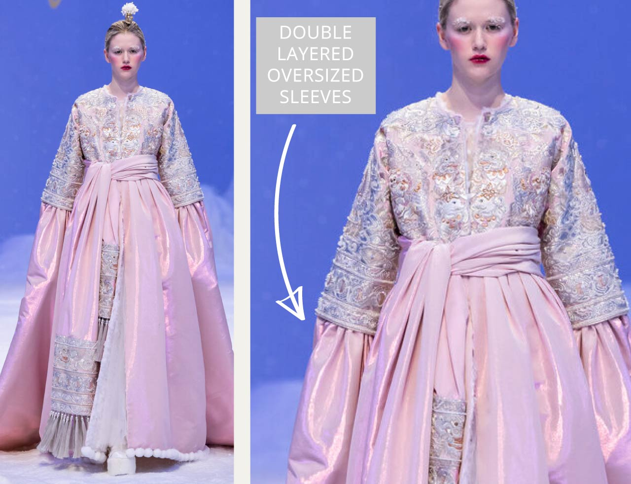 Reverse Textiles at Guo Pei Haute Couture | The Cutting Class. Double layered oversized sleeves. SS20 Haute Couture.