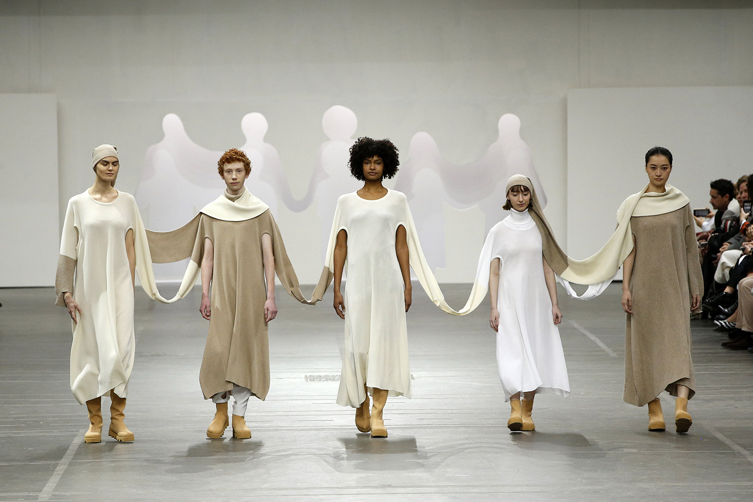 Connected Knits and Layering at Issey Miyake   The Cutting Class. Hand in Hand interconnected knits from AW20.