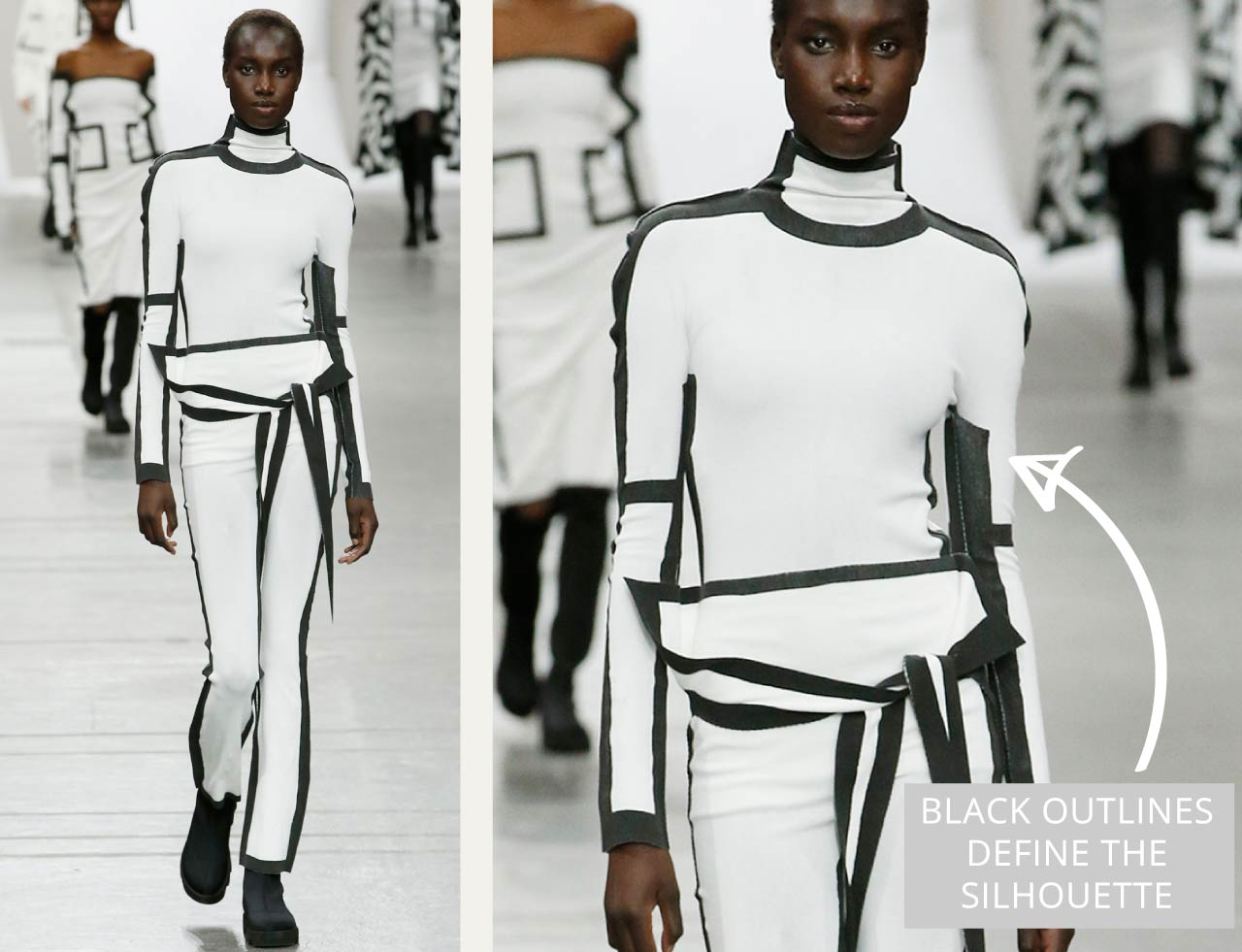 Connected Knits and Layering at Issey Miyake | The Cutting Class. Graphic outlines in monochrome pieces define the silhouette.