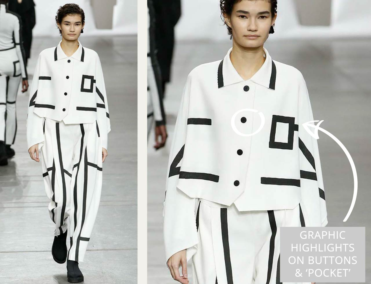 Connected Knits and Layering at Issey Miyake | The Cutting Class. Black and white pieces with black accents such as buttons and pocket outlines.