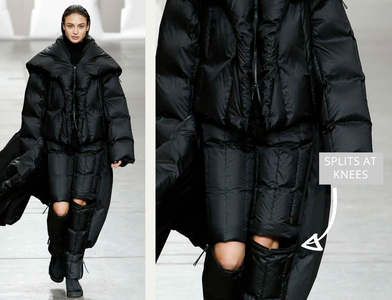 Connected Knits and Layering at Issey Miyake | The Cutting Class. Black puffer pieces with splits at knees. AW20.
