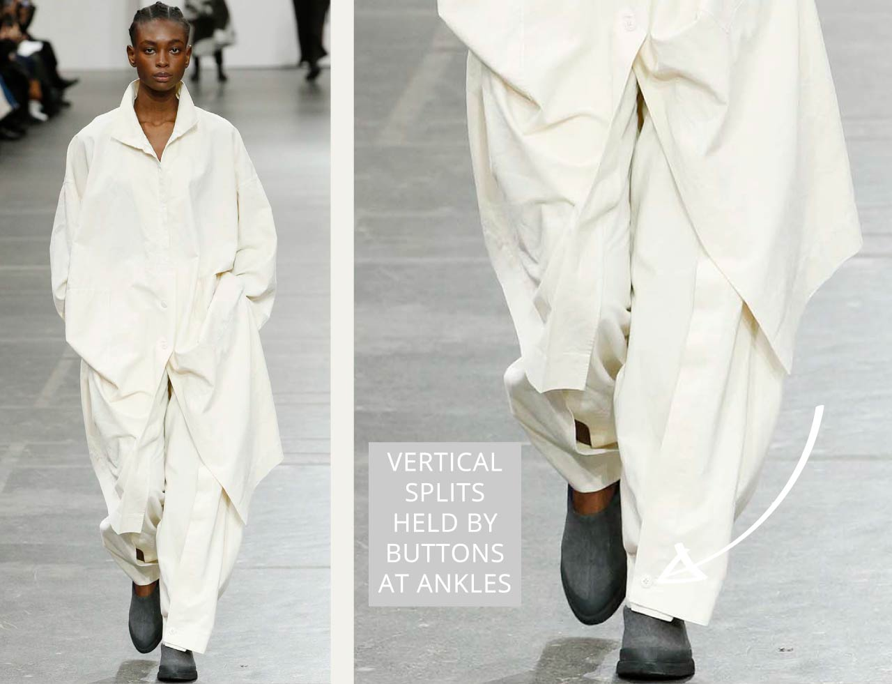Connected Knits and Layering at Issey Miyake   The Cutting Class. Trousers with vertical front splits held together with button closure at ankles.
