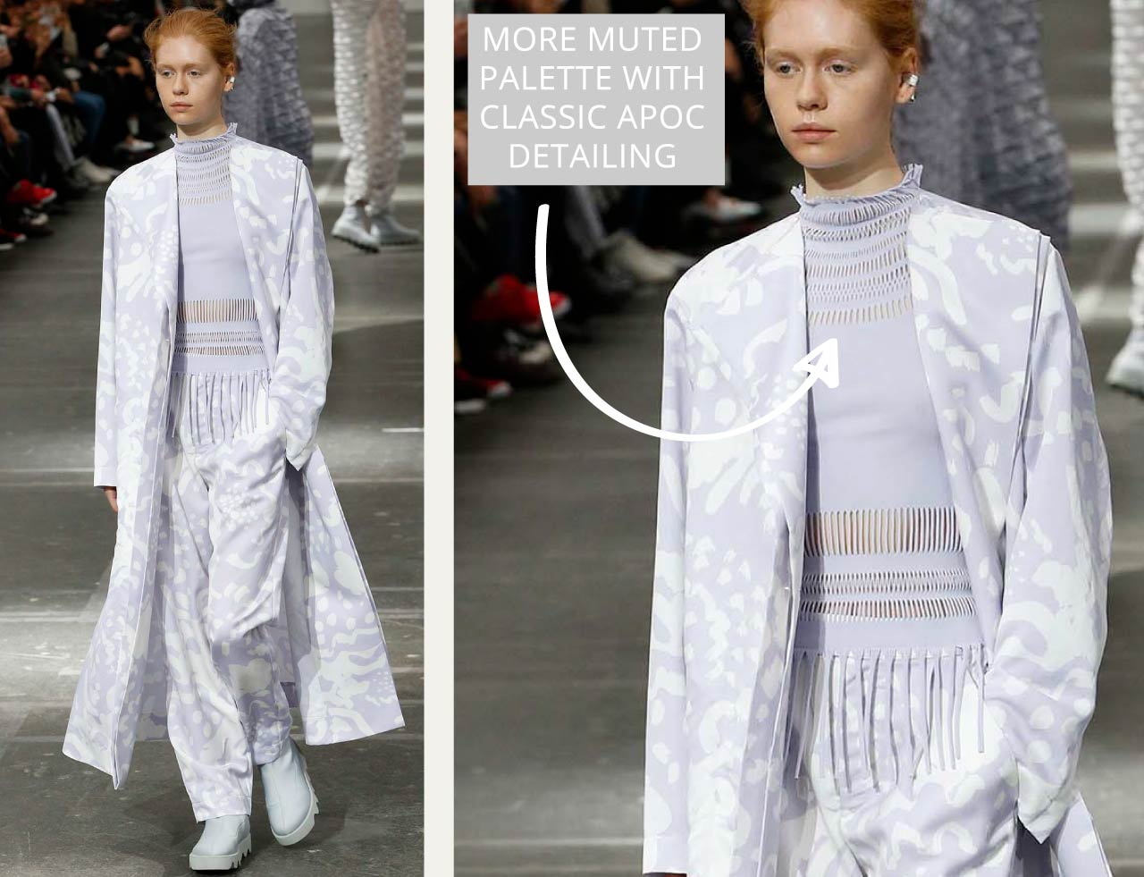 Connected Knits and Layering at Issey Miyake   The Cutting Class. Muted colour palette with classic A-POC detailing.