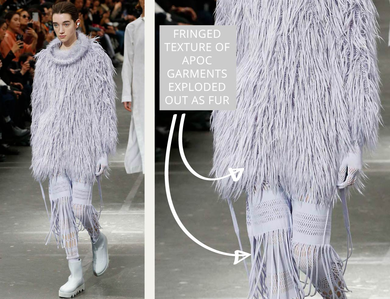 Connected Knits and Layering at Issey Miyake | The Cutting Class. Fringed texture exploded out as fur.