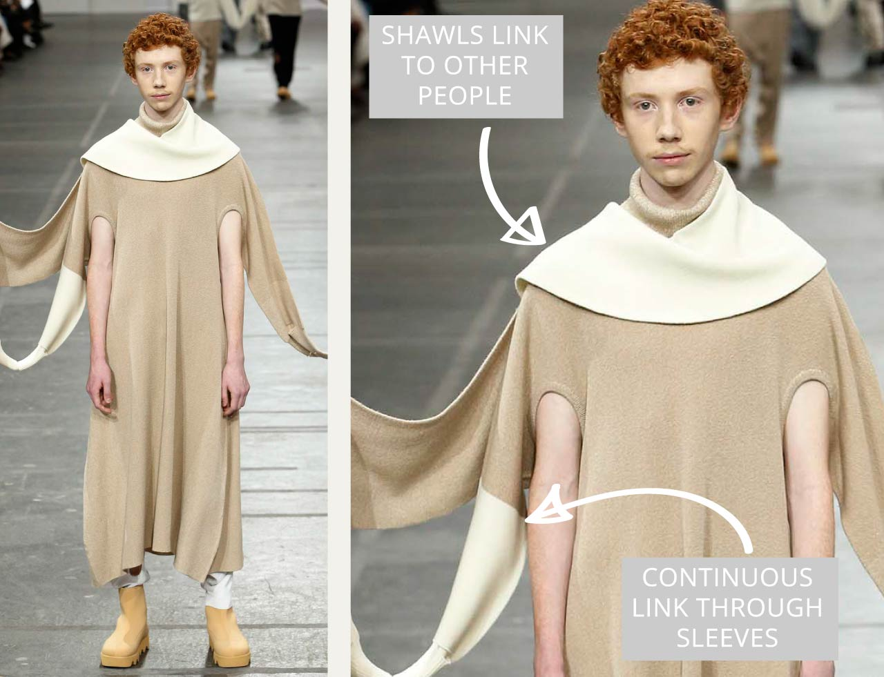 Connected Knits and Layering at Issey Miyake   The Cutting Class. Shawls and sleeves link to other wearers.