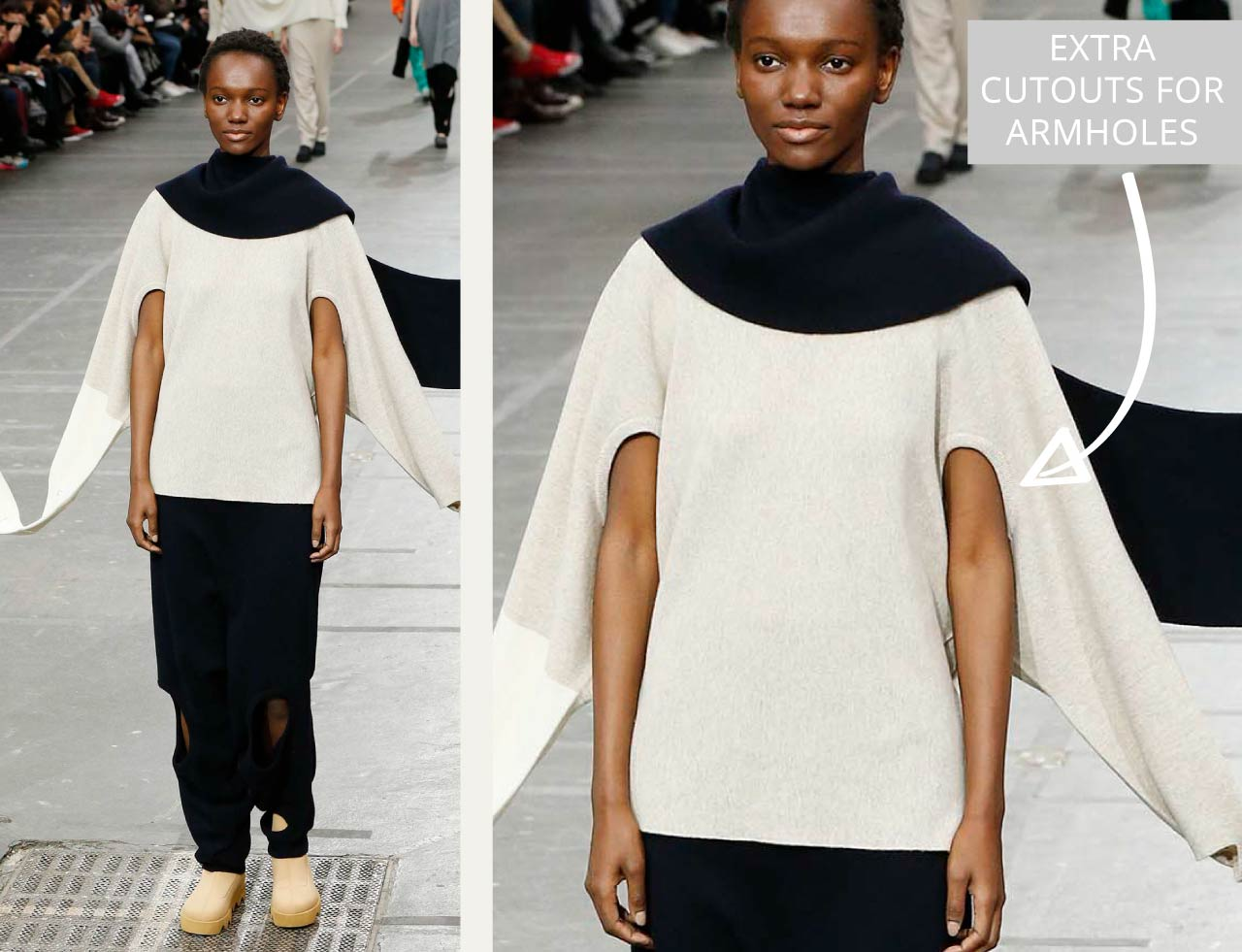Connected Knits and Layering at Issey Miyake | The Cutting Class. Extra cutouts for armholes so garments can be worn multiple ways, AW20.