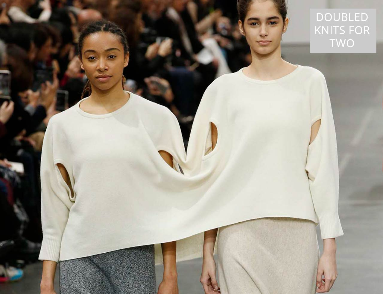 Connected Knits and Layering at Issey Miyake | The Cutting Class. Doubled knits for two people, AW20.