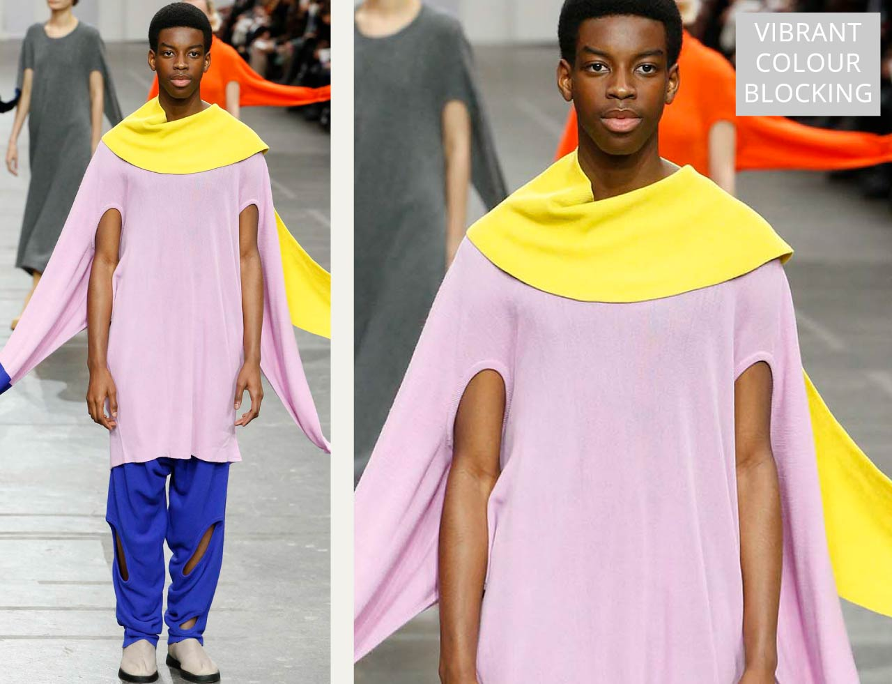 Connected Knits and Layering at Issey Miyake | The Cutting Class. Vibrant colour blocking knits in yellow, pink and blue.