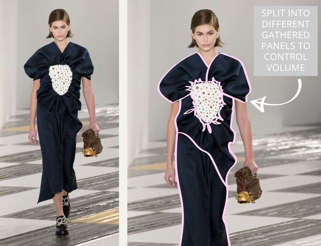 Gathering and Ceramic Plates at Loewe | The Cutting Class. Dress split into different panels to control volume.