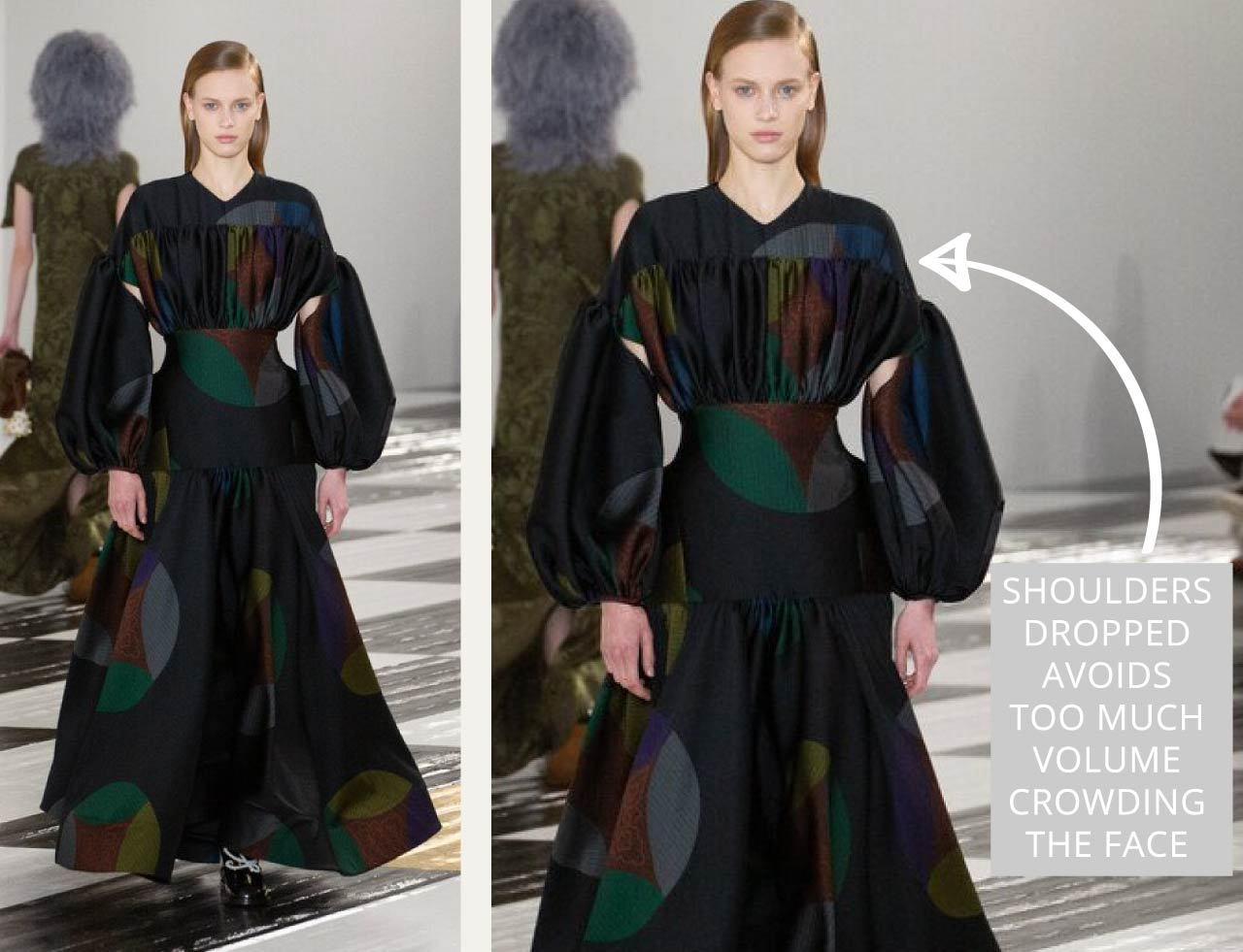 Gathering and Ceramic Plates at Loewe | The Cutting Class. Dropped shoulder avoids too much volume crowding the shoulder and face area.